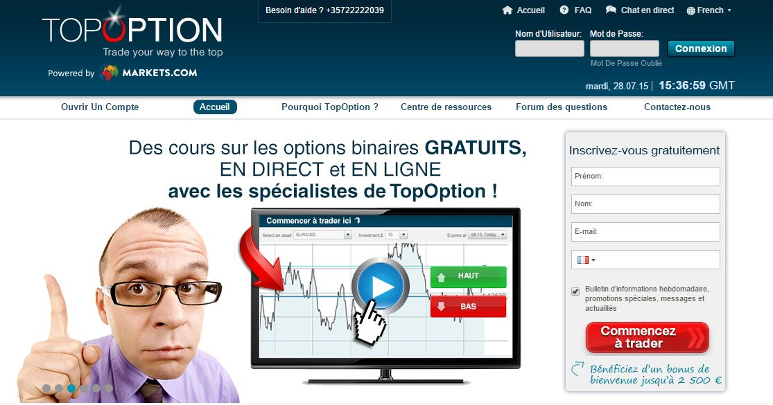 Test d'un Courtier d'Options Binaires : Top Option