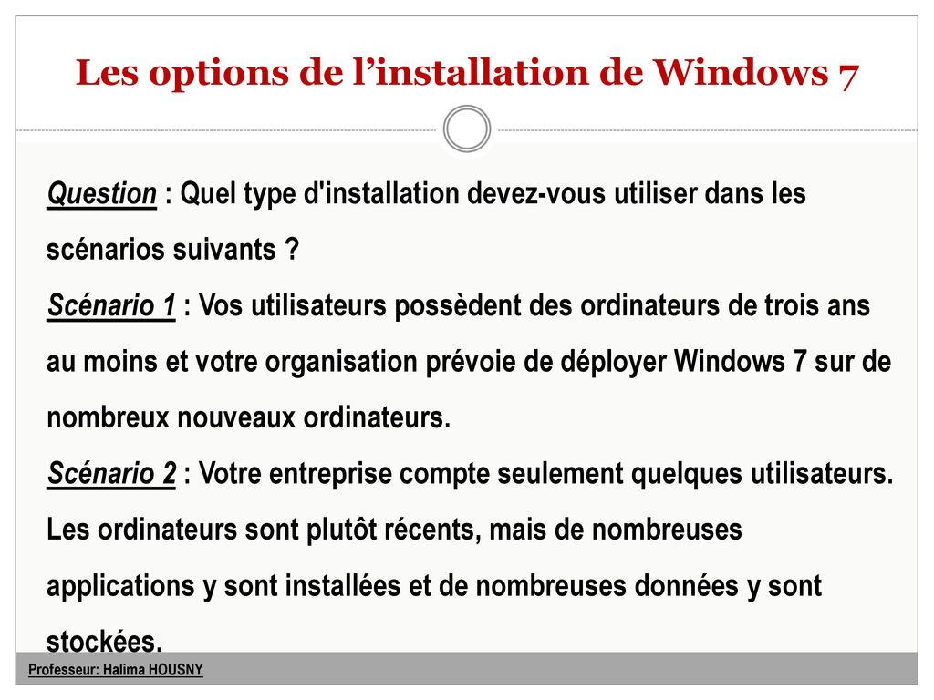 les options sont de types)