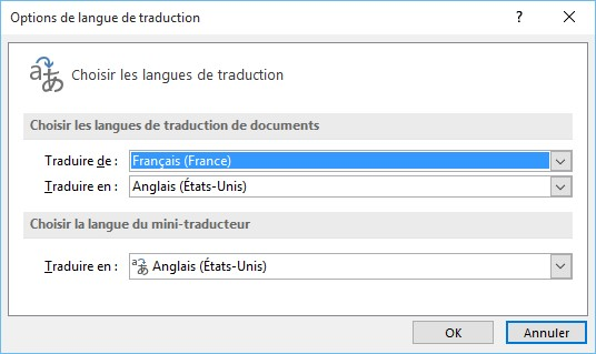 traduction du mot option)